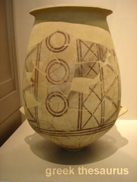 Storage jar decorated with black painted geometric motifs