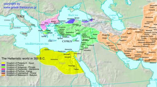 The hellenistic world in 300 BC